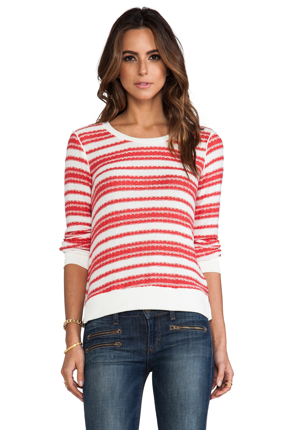 Splendid Palisades Stripe Loose Knit Tee in Fiesta