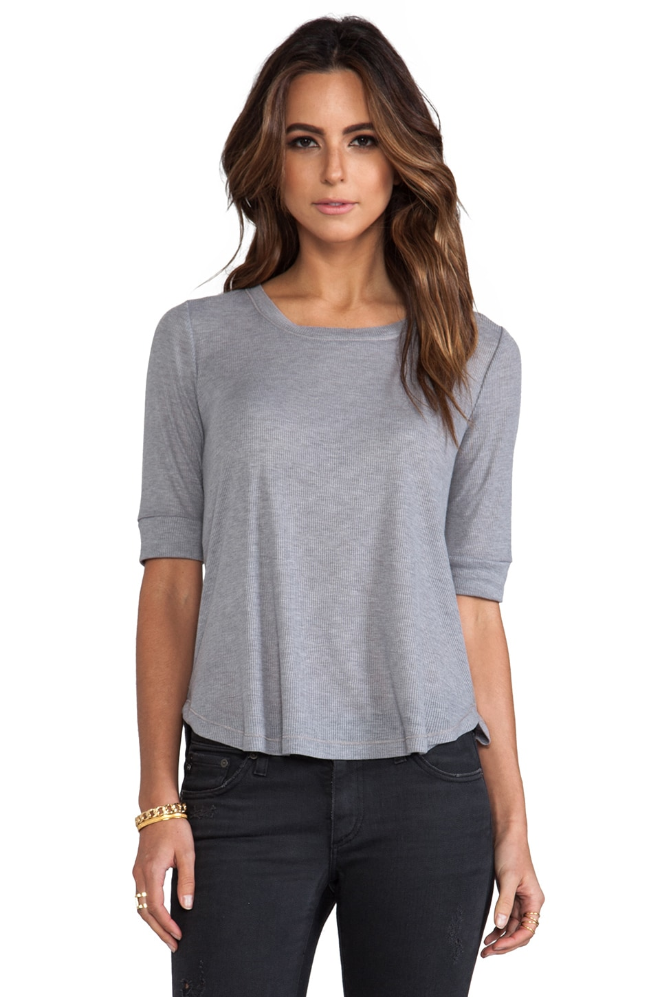 Splendid Feather Rib Top in Heather Grey