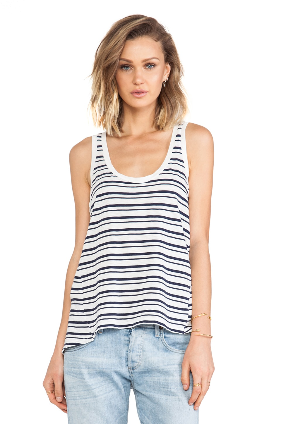Splendid Vintage Coastal Stripe Tank in White