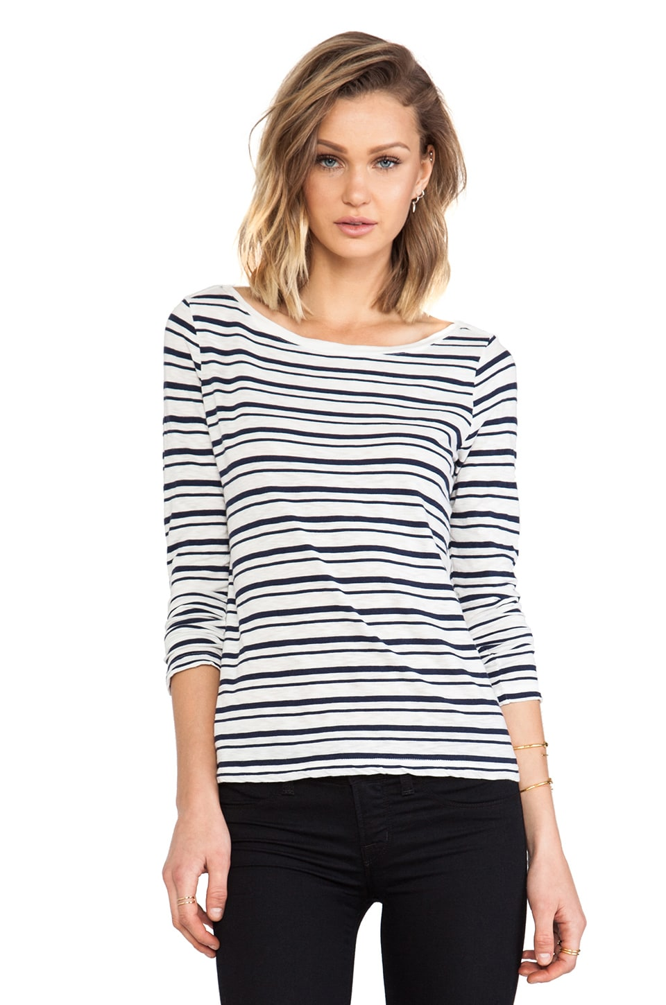 Splendid Vintage Coastal Stripe Long Sleeve Tee in White