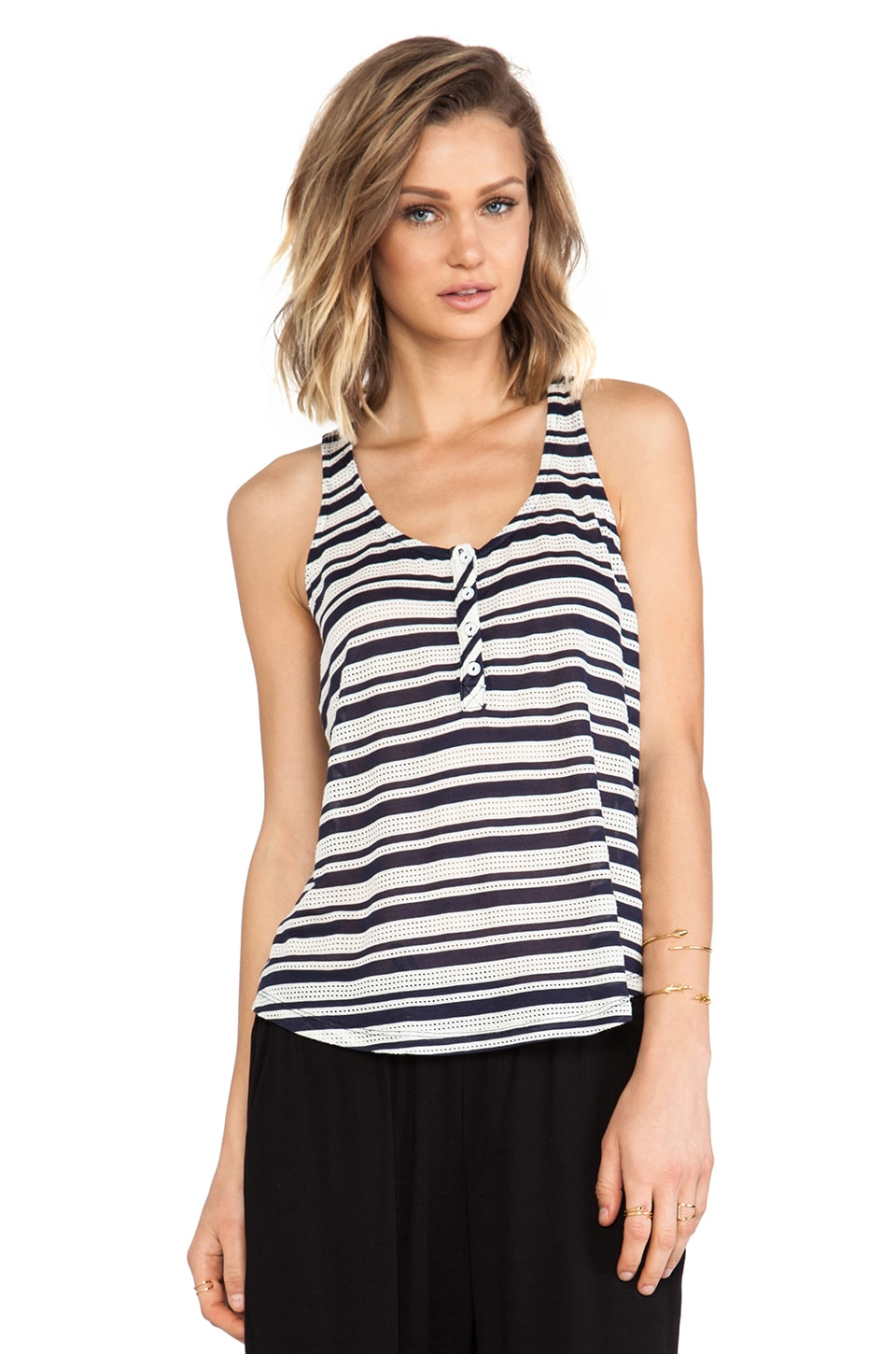 Splendid Marina Eyelet Stripe Tank in Navy