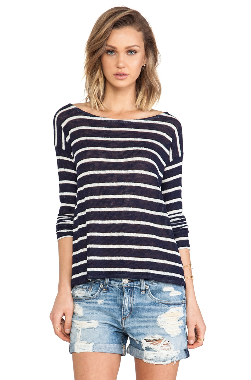 Splendid Laguna Stripe Loose Knit Top in Navy