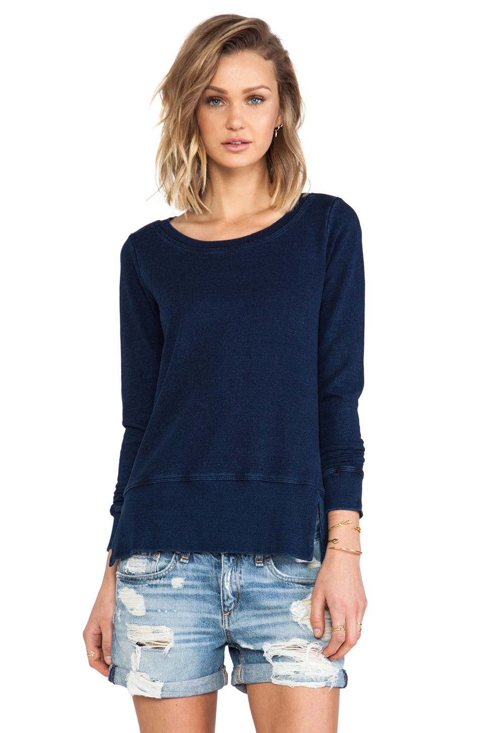 Splendid Indigo Blue French Terry Long Sleeve in Dark Indigo