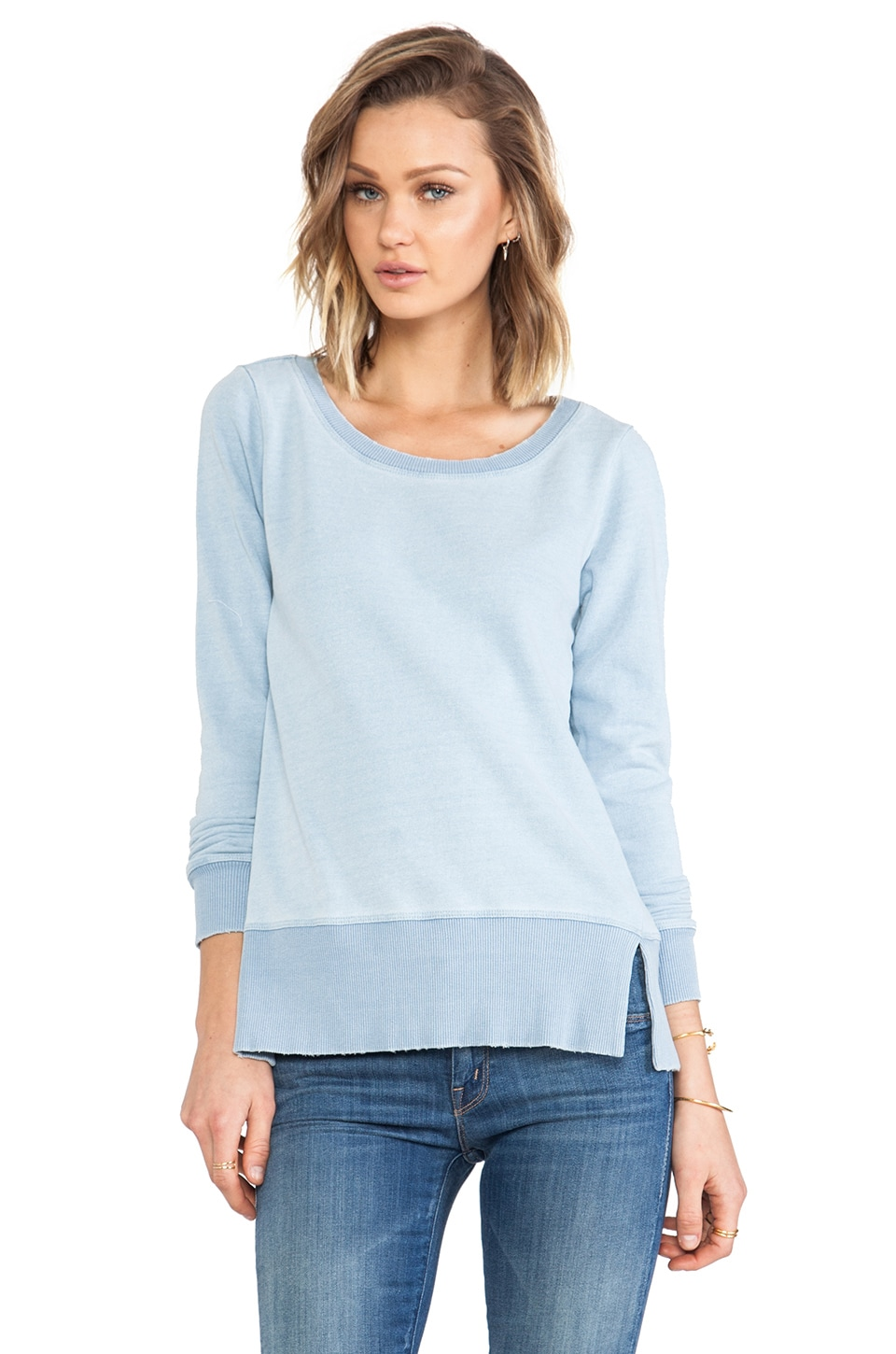 Splendid Indigo Blue French Terry Long Sleeve in Light Indigo