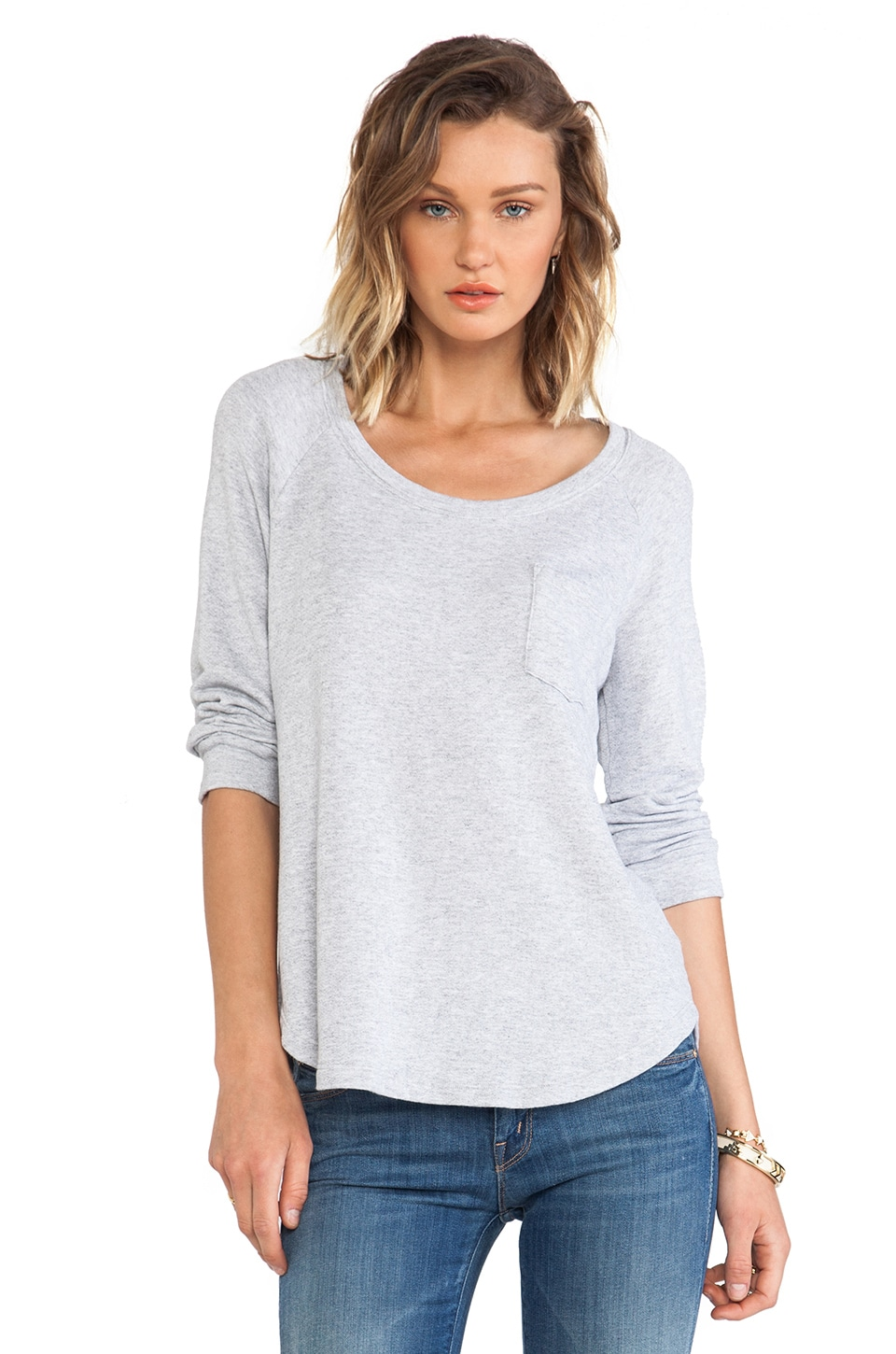 Splendid Soft Melange French Terry Top in Heather Grey