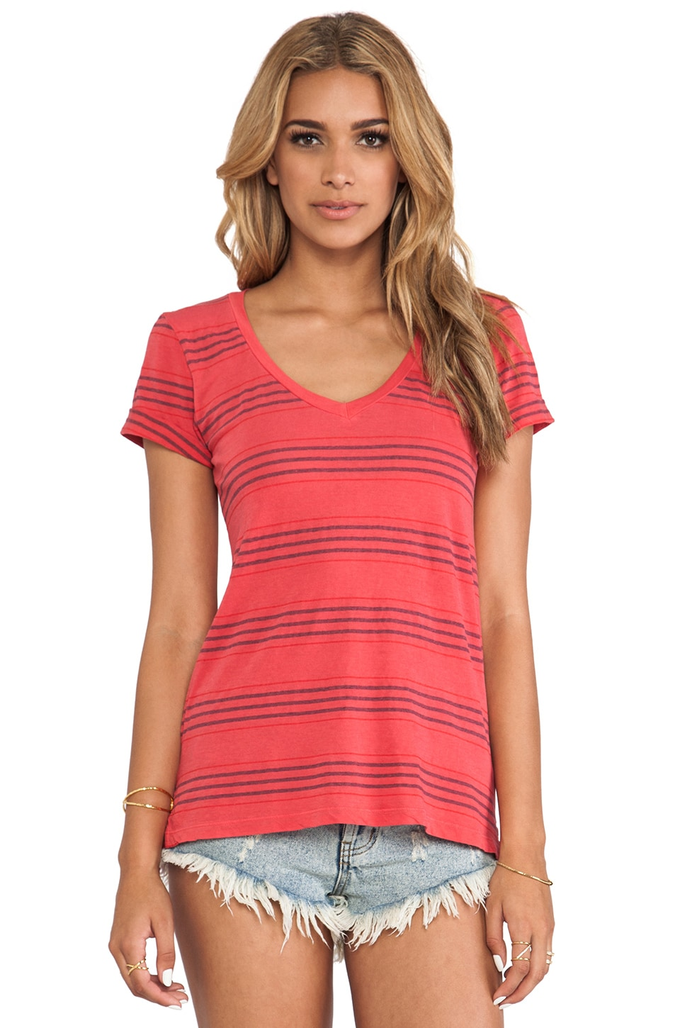 Splendid Pipeline Stripe Tee in Grenadine