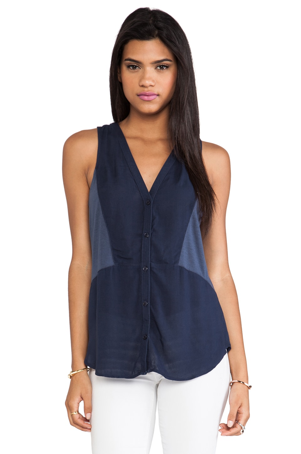 Splendid Always Shirting Tank in Navy