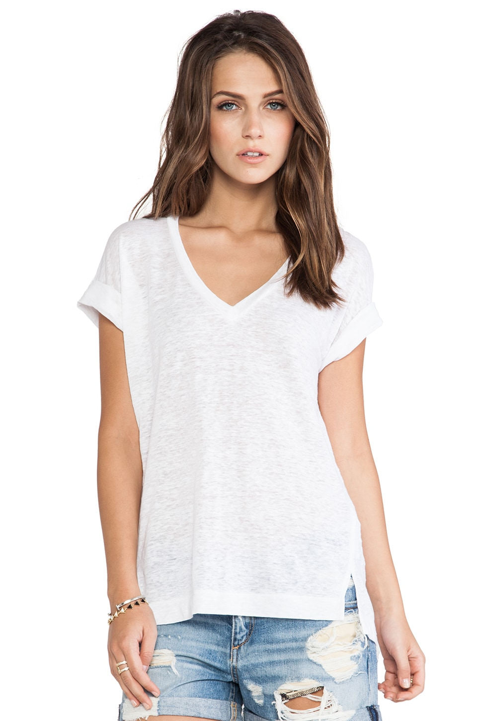 Splendid Linen Jersey V-Neck Tee in White