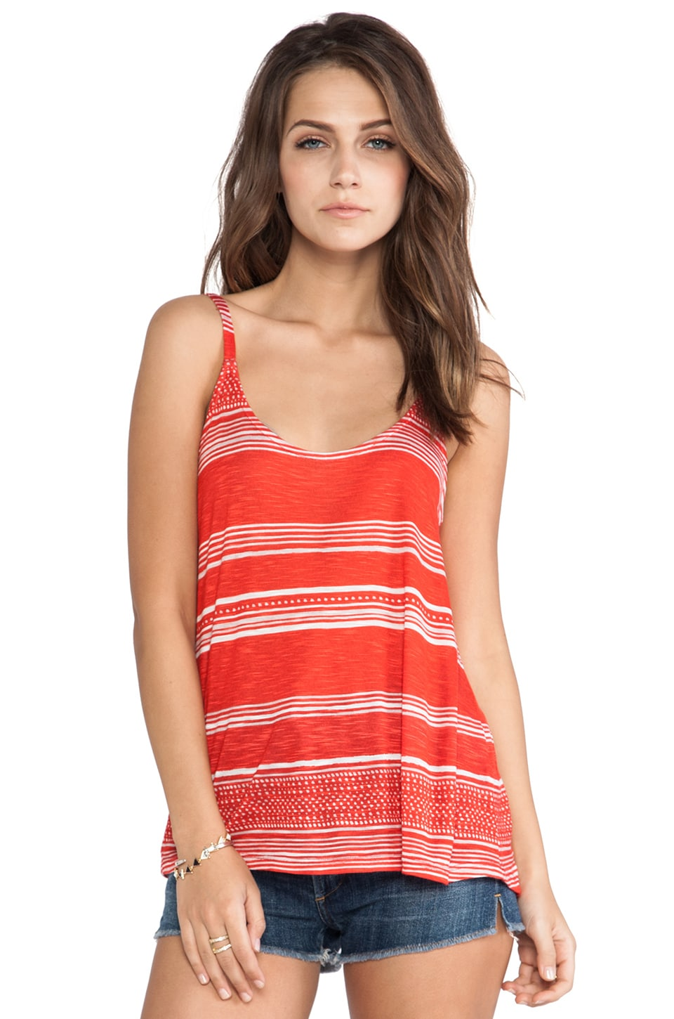 Splendid Safari Stripe Tank in Paprika