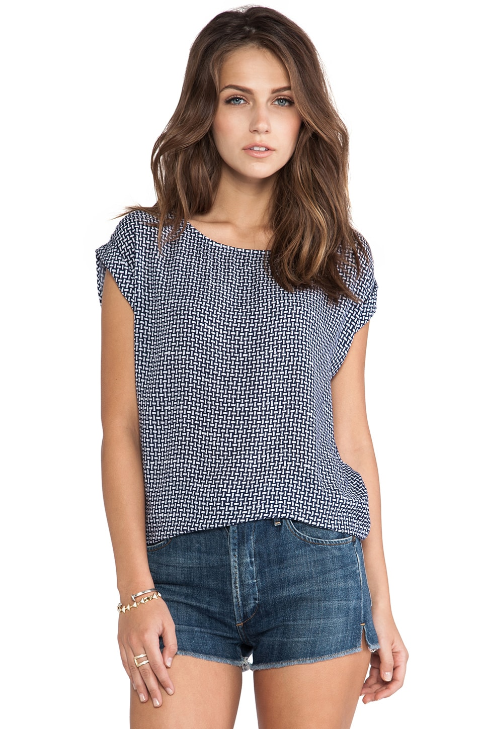 Splendid Basket Weave Top in Navy