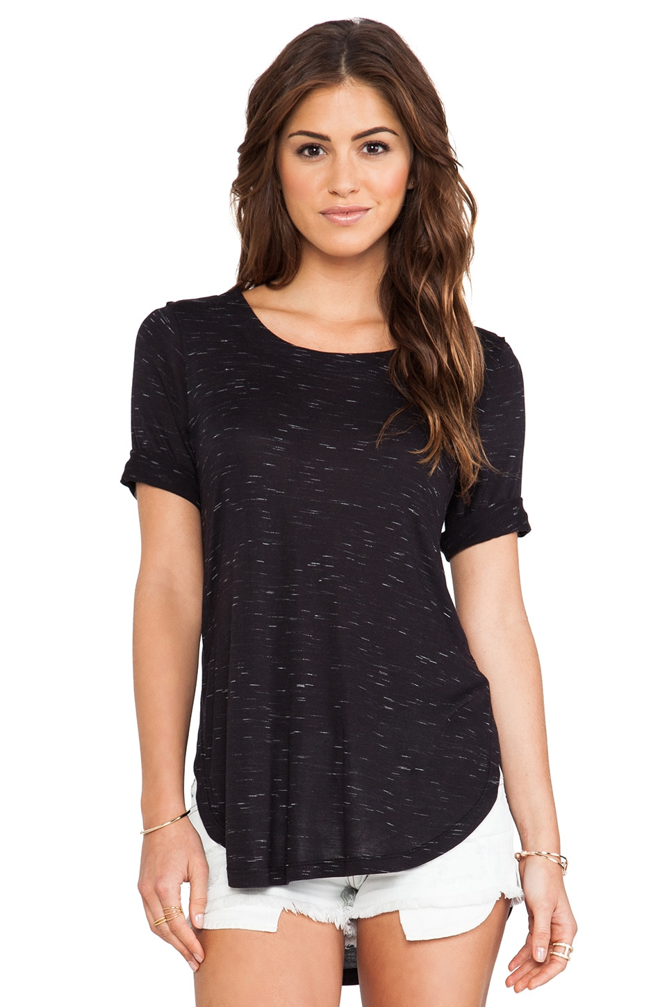 Splendid Tracer Melange Tee in Black