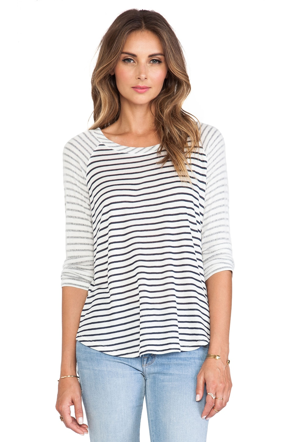 Splendid Montrose Stripe Long Sleeve Tee in Navy