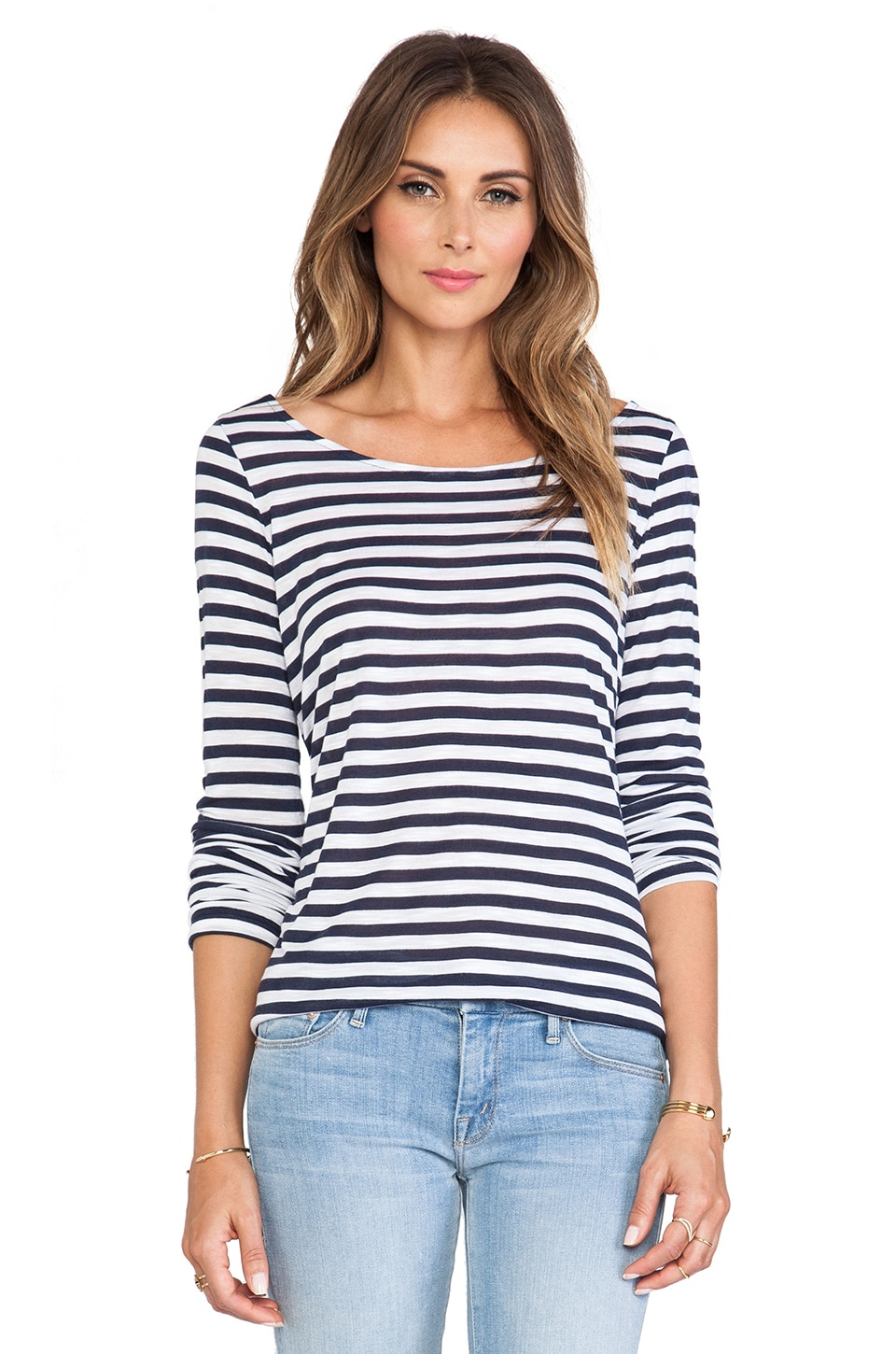 Splendid Glen Valley Stripe Long Sleeve Tee in Navy & White