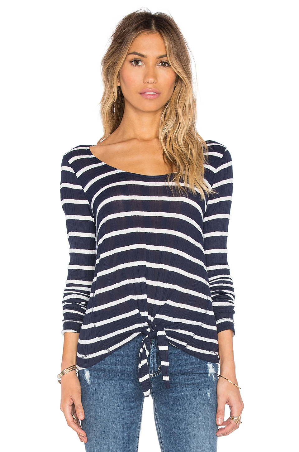 Huntington Stripe Rib Long Sleeve Top by Splendid