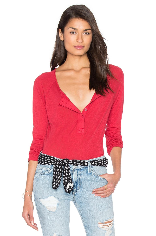 Splendid Slub Buttoned Long Sleeve Top in Garnet