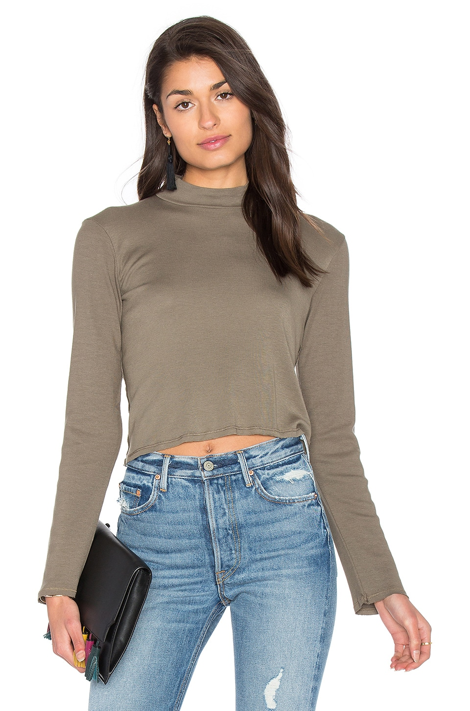 Splendid 1x1 Cropped Turtleneck in Military Olive