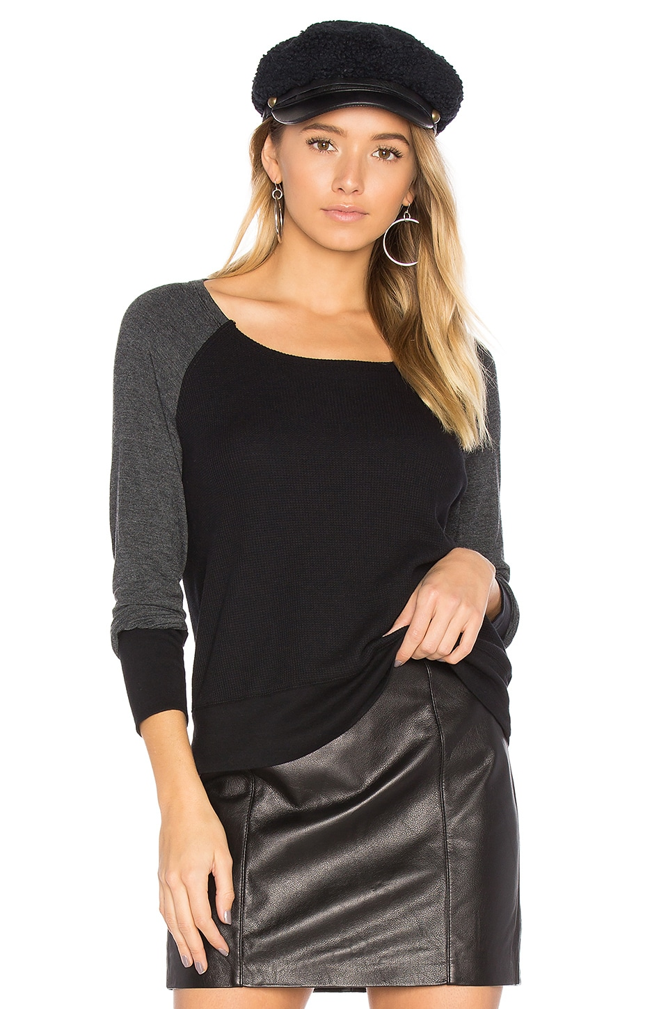 Splendid Thermal Mixed Media Top in Black