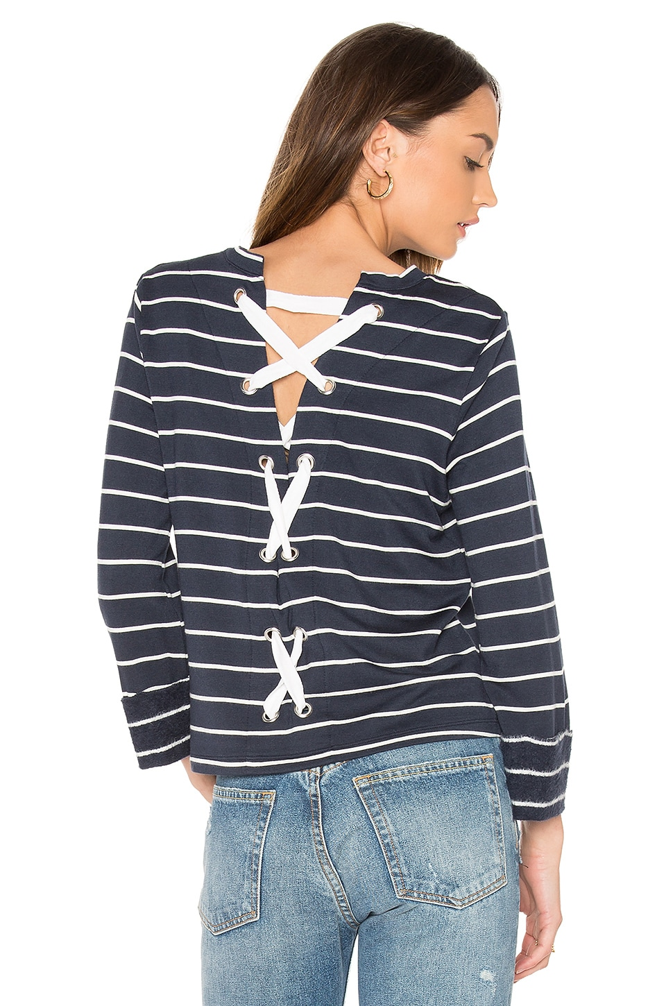 Splendid Dune Stripe Lace Up Back Top in Navy & White