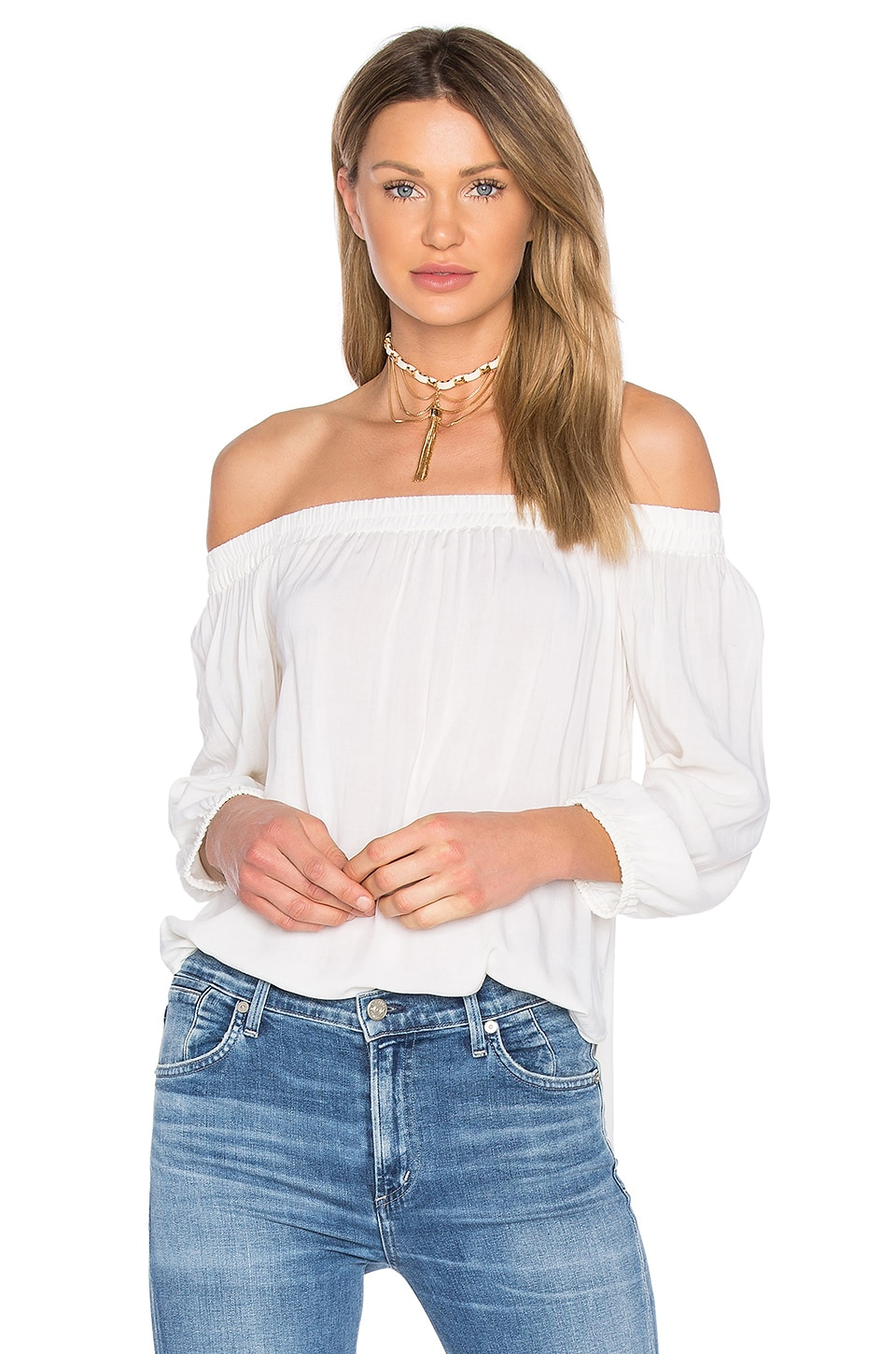 Splendid Off Shoulder Top in Pearl