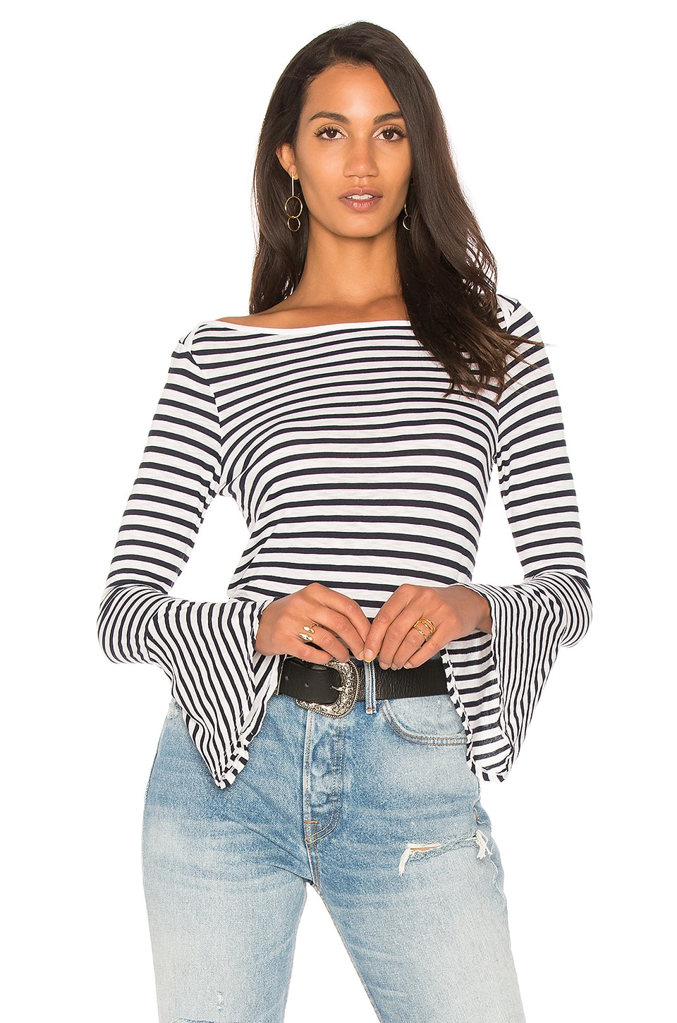 Splendid French Stripe Bell Sleeve Tee in Off White