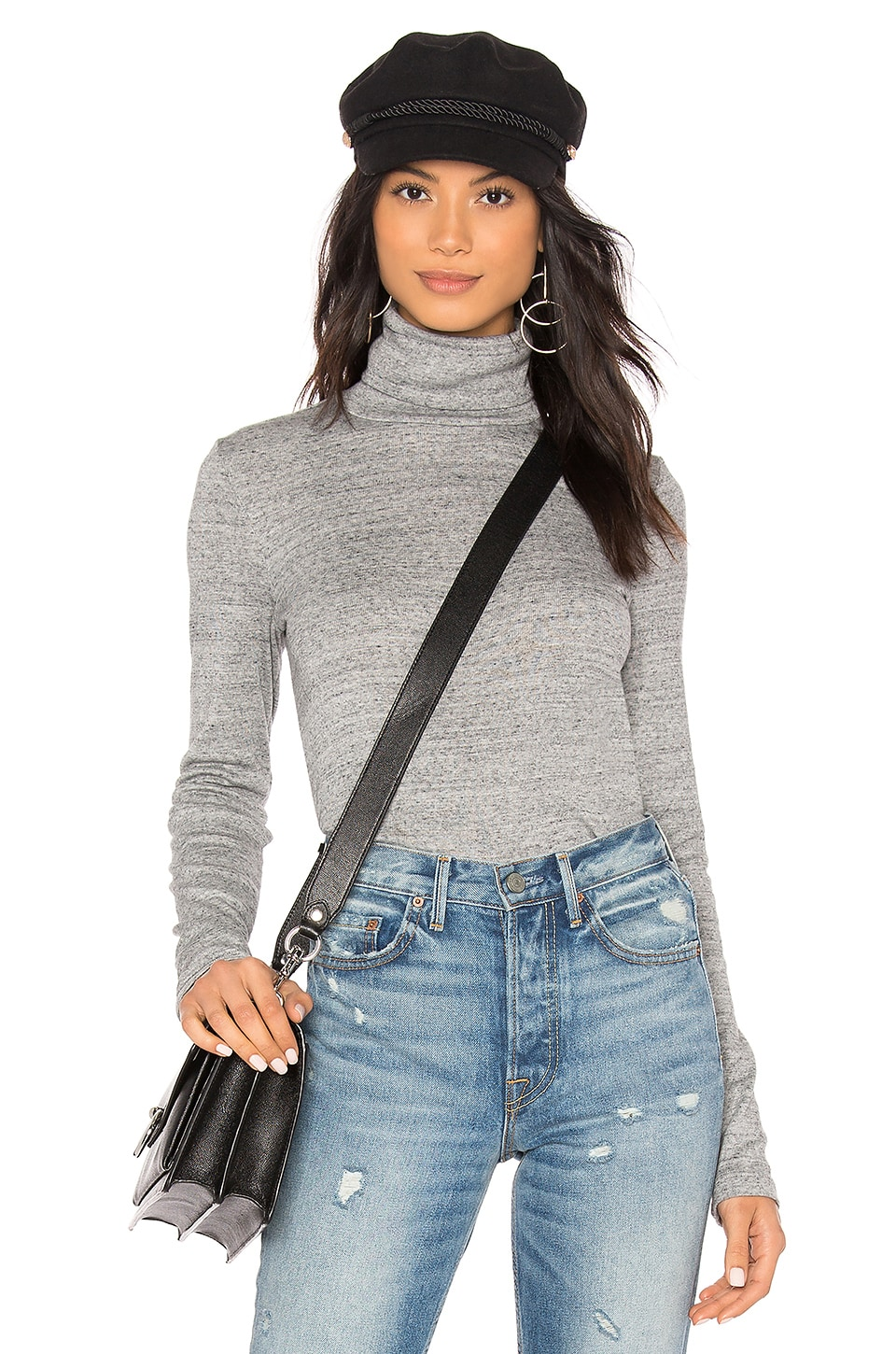 Splendid Classic Turtleneck Top in Gravel Heather Grey