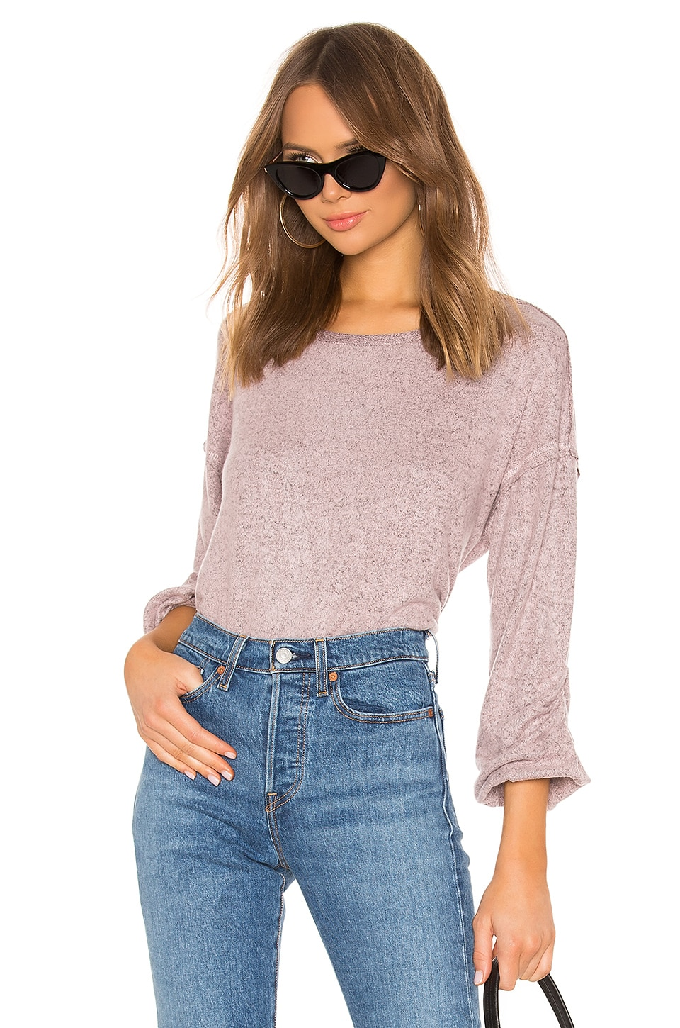 Splendid Addison Jersey Top in Heather Pink