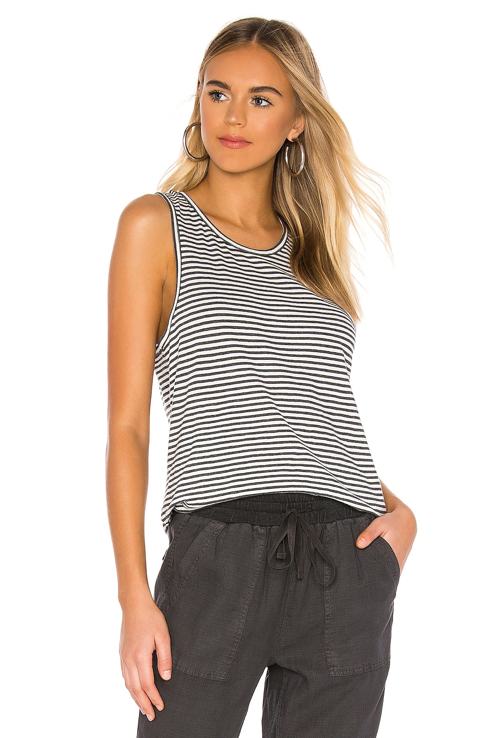 Splendid Maxwell Tank in Charcoal & Off White