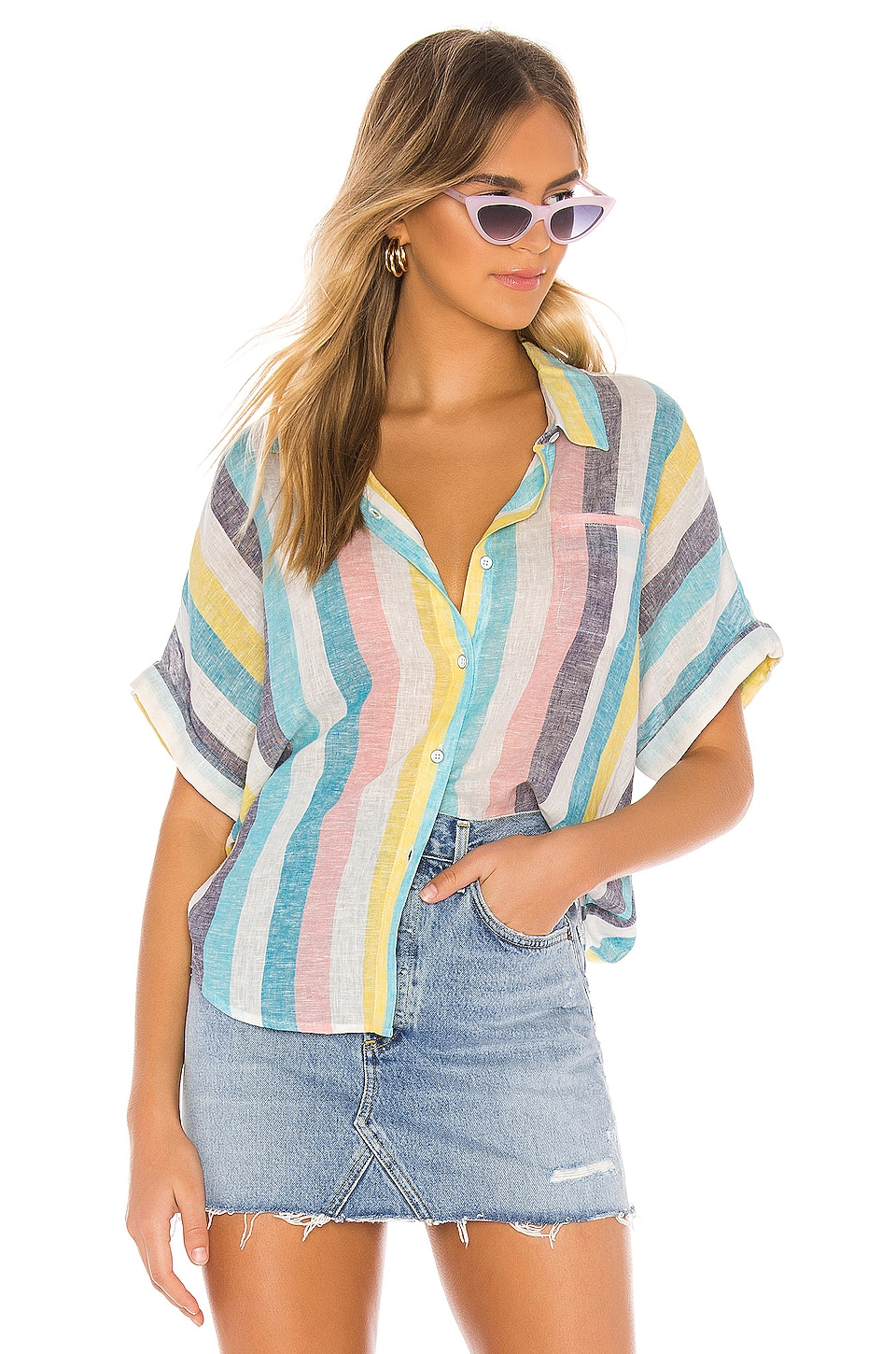 Splendid Button Down in St. Barths Stripe