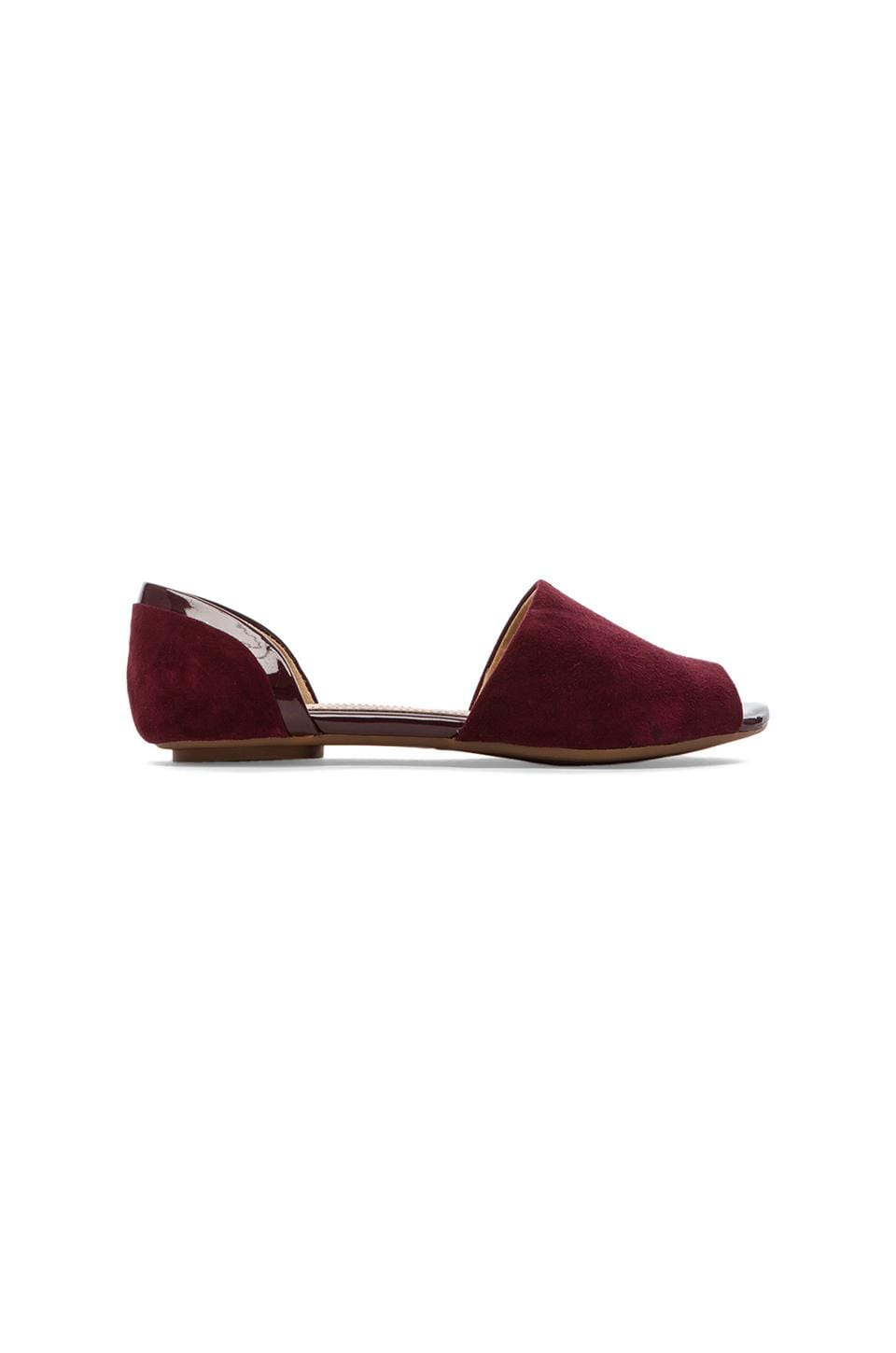 Splendid Akron Open Toe Flats in Dark Cranberry