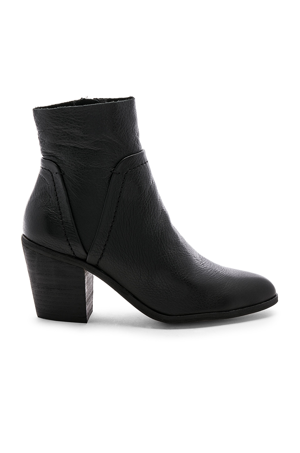 Women'S Cherie Leather Block Heel Booties, Black Leather