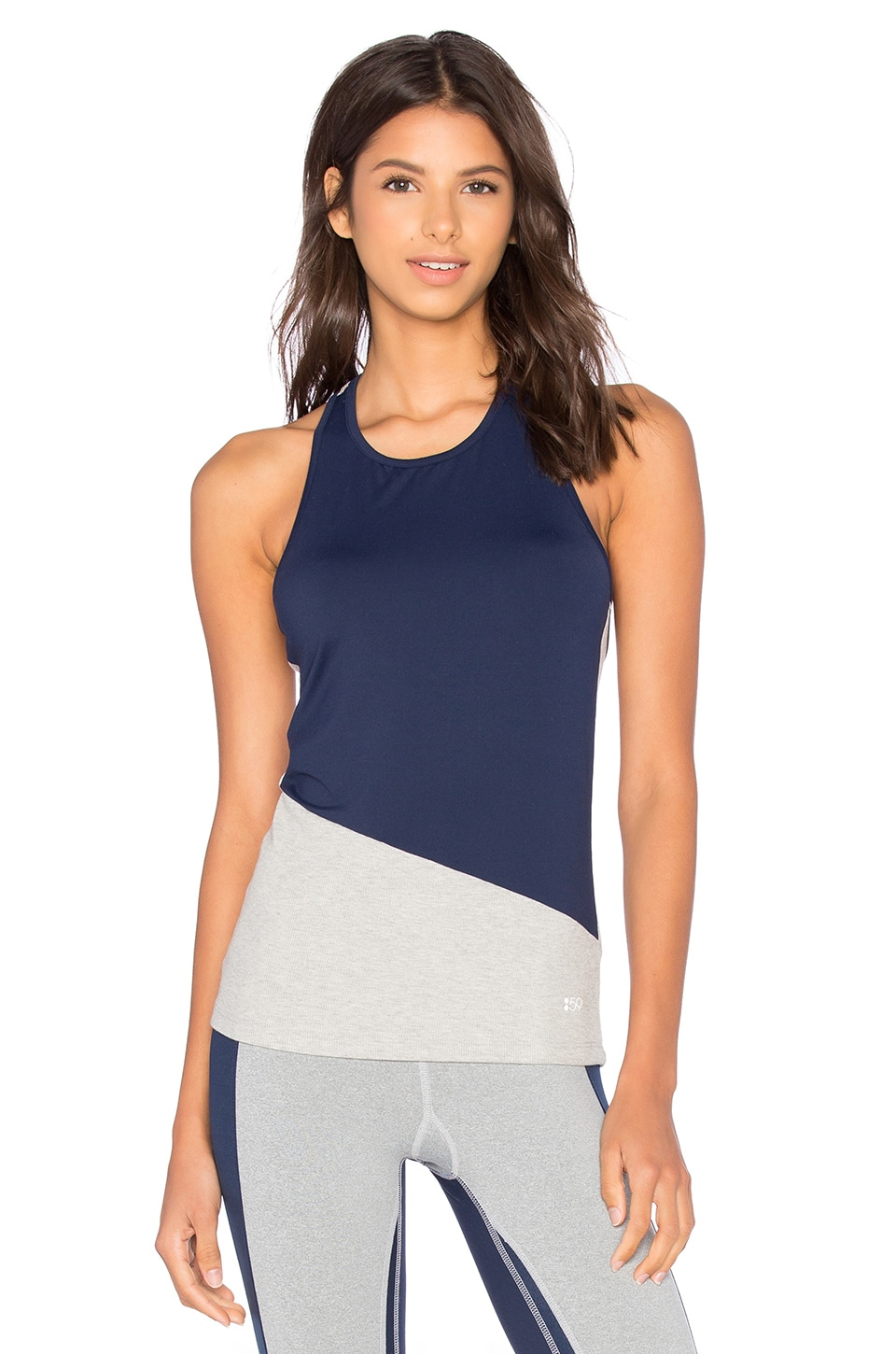 Splits59 Toni Tank in Heather Light Grey & Indigo & Sedona