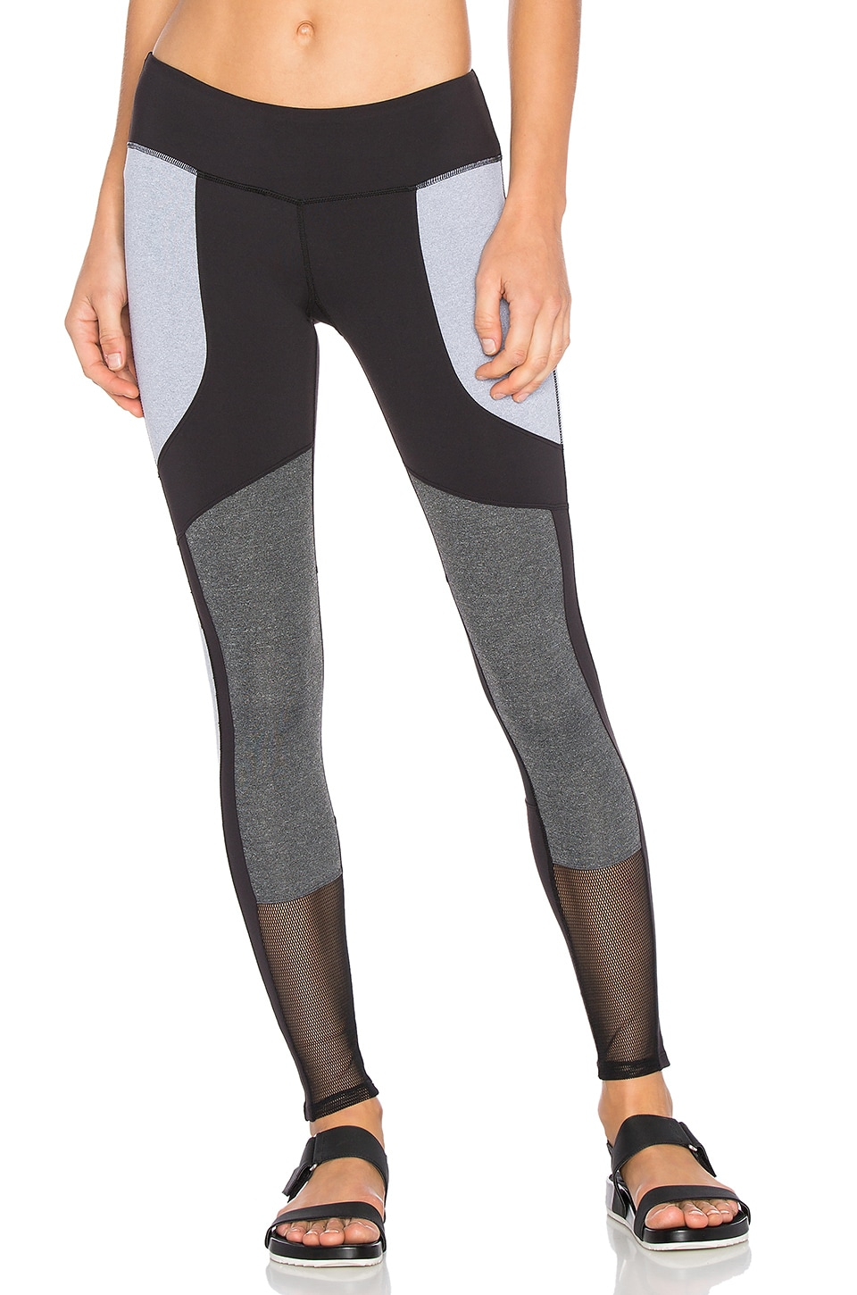Splits59 Kyoto Legging in Black & Light Grey & Dark Heather Grey