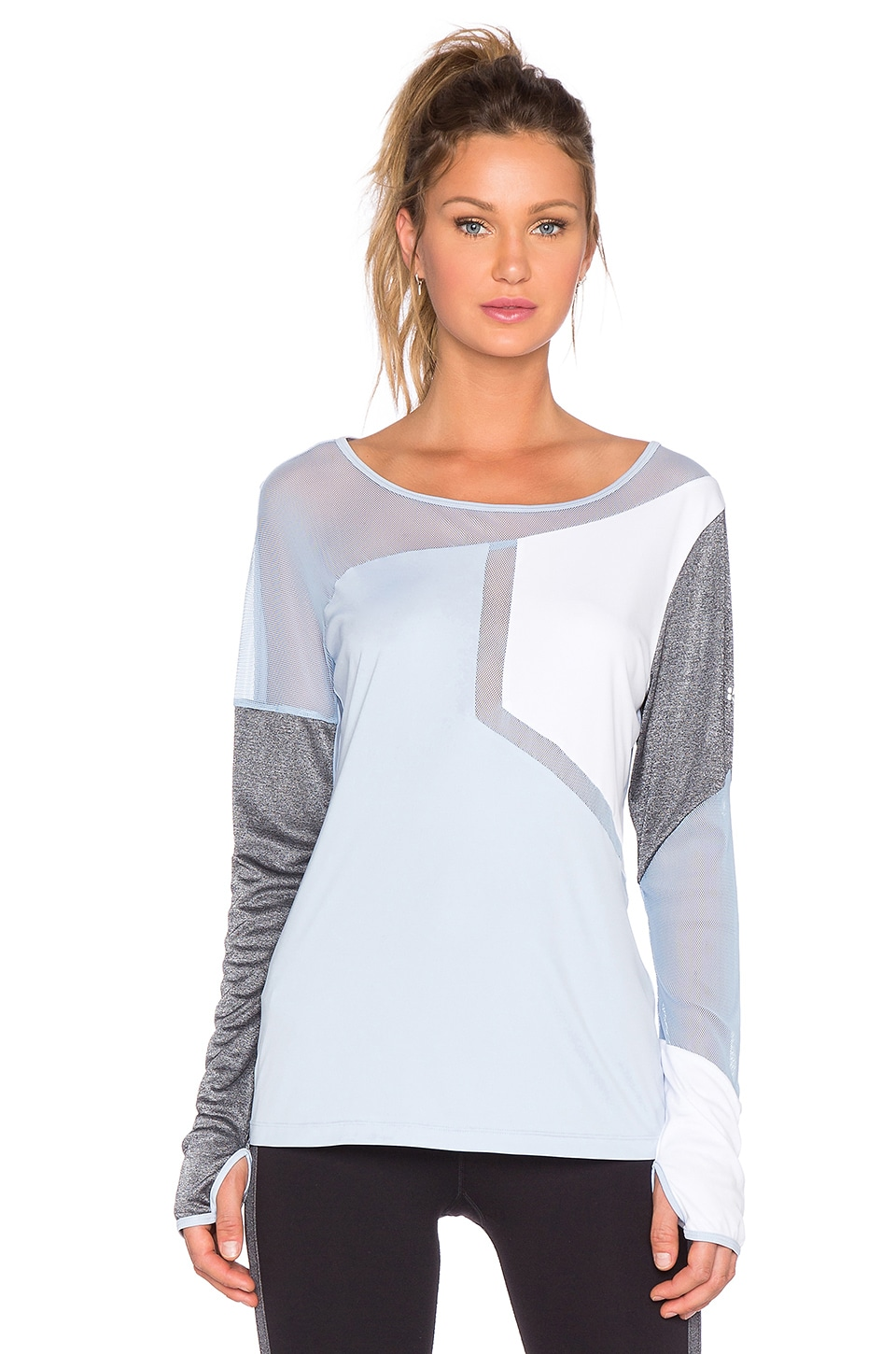 Splits59 Olivia Matrix Long Sleeve Tee in Crystal, White & Heather Grey