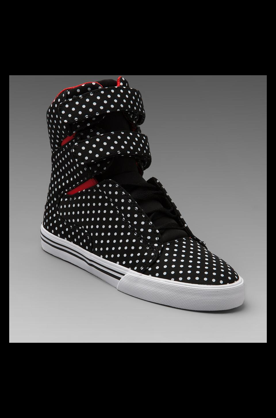 Supra Society Sneaker in Black/White Polka Dots