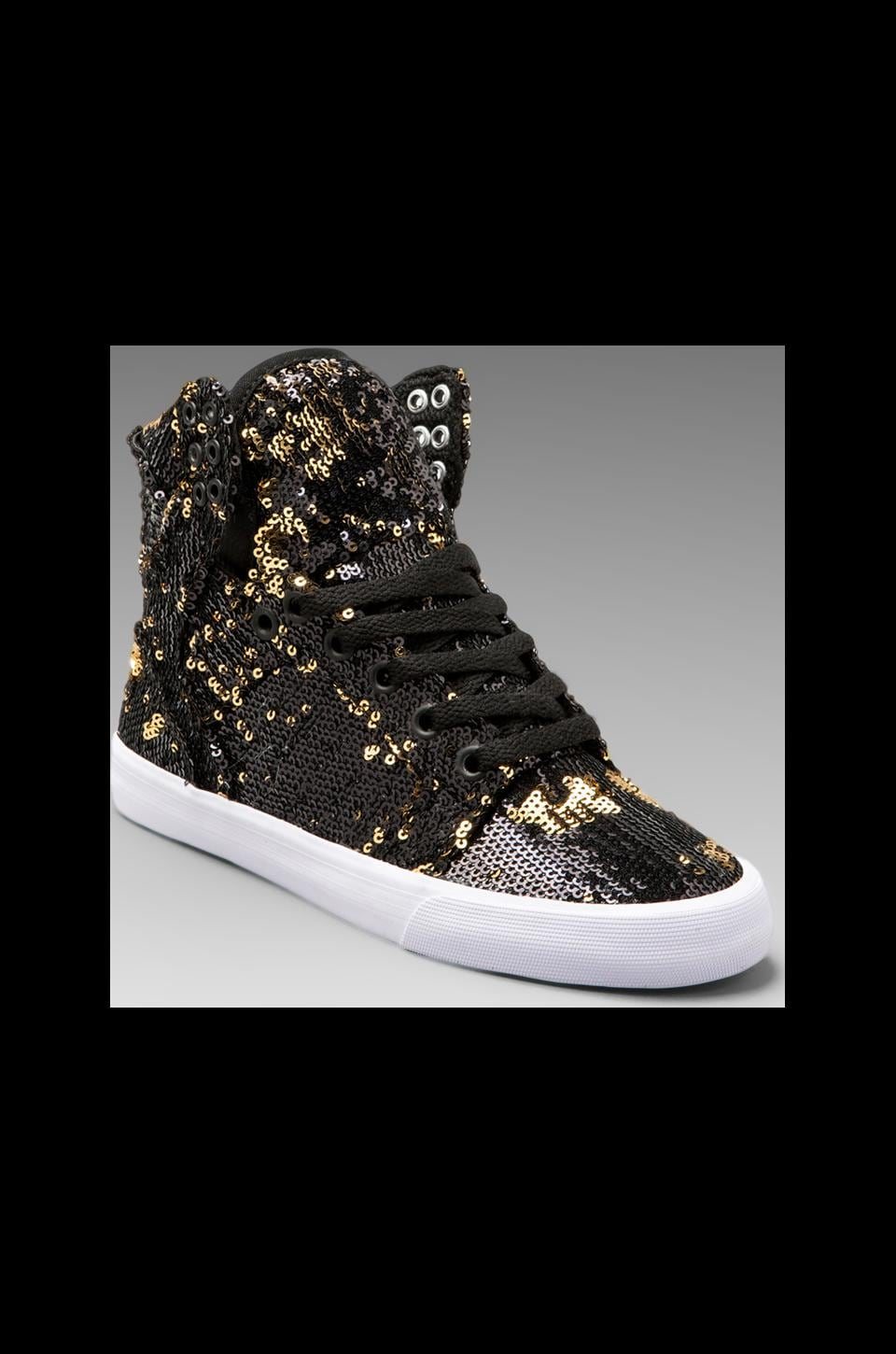 Supra Skytop Sneaker in Black/Gold