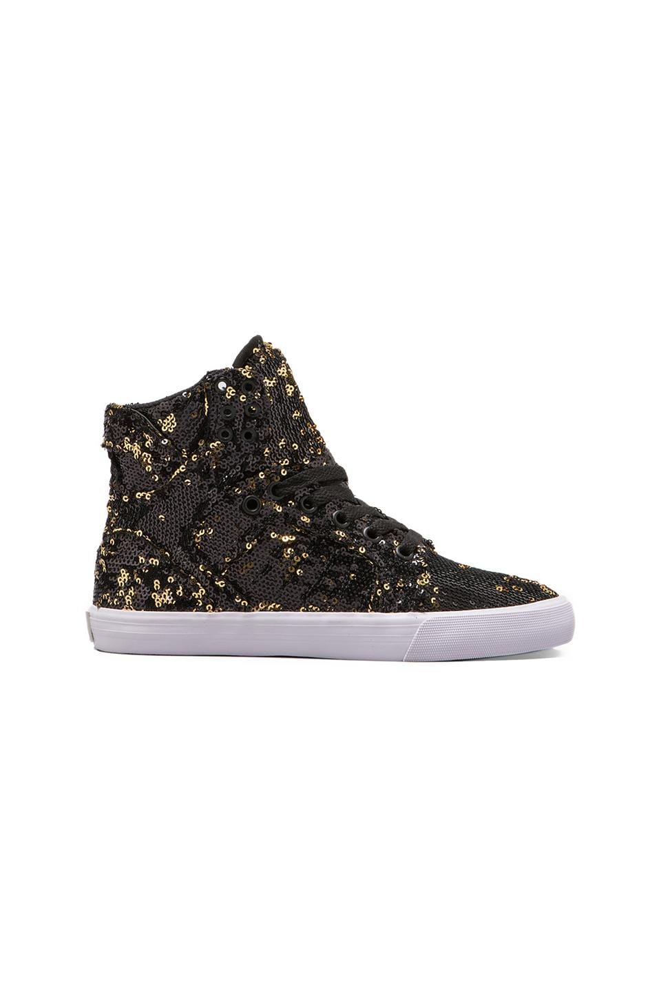 Supra Skytop Sneaker in Black/Gold Sequins
