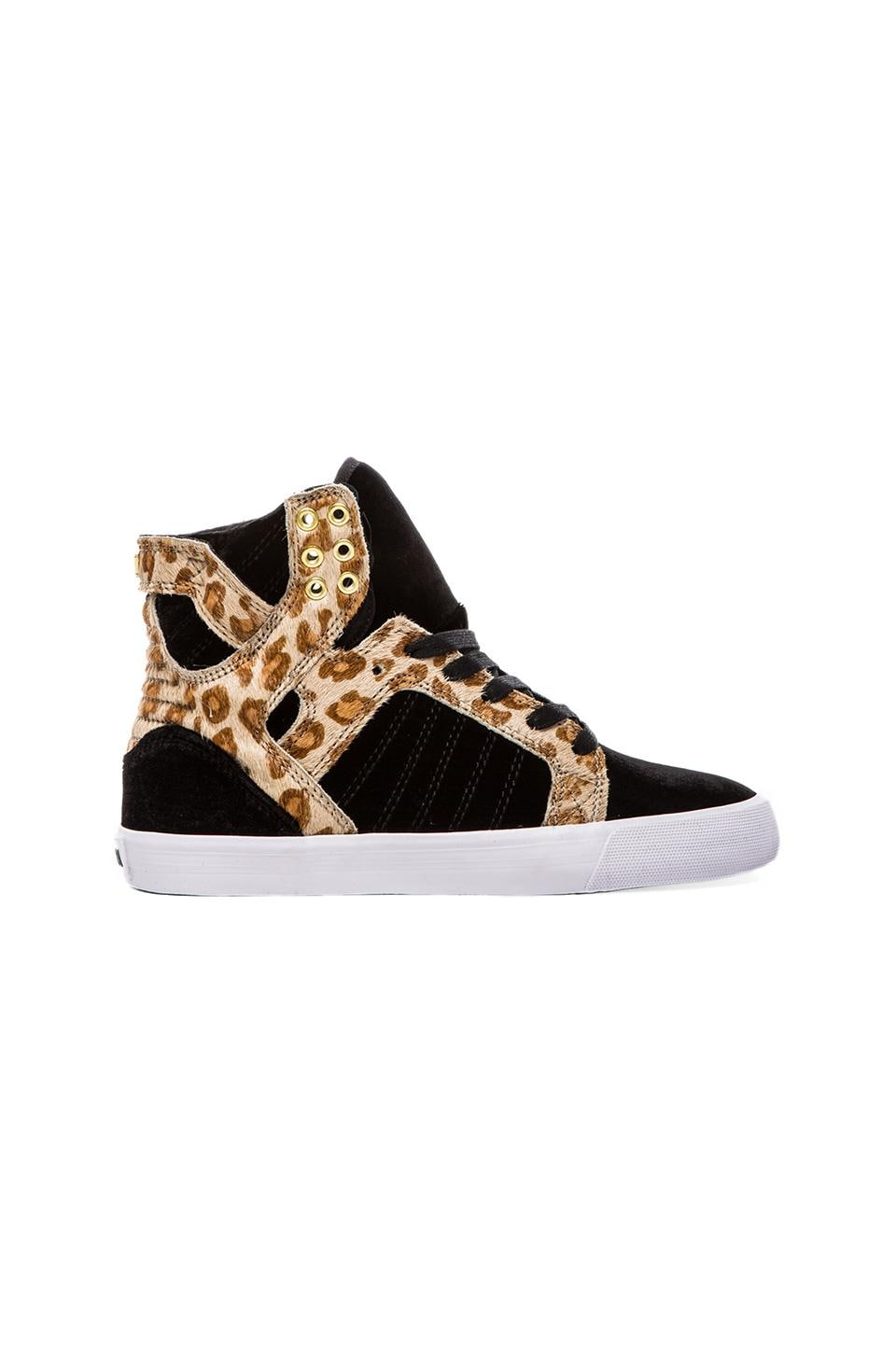 Supra A-Morir Skytop Sneaker with Pony Hair in Black Velvet & Cheetah