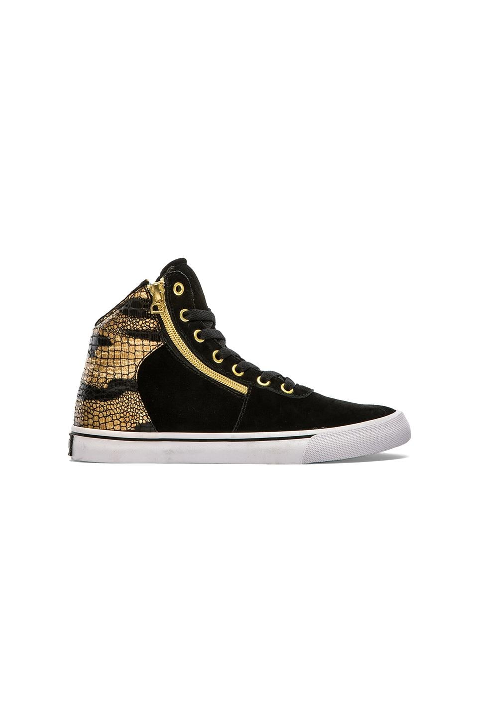 Supra Cuttler High Top Sneaker in Black & Gold