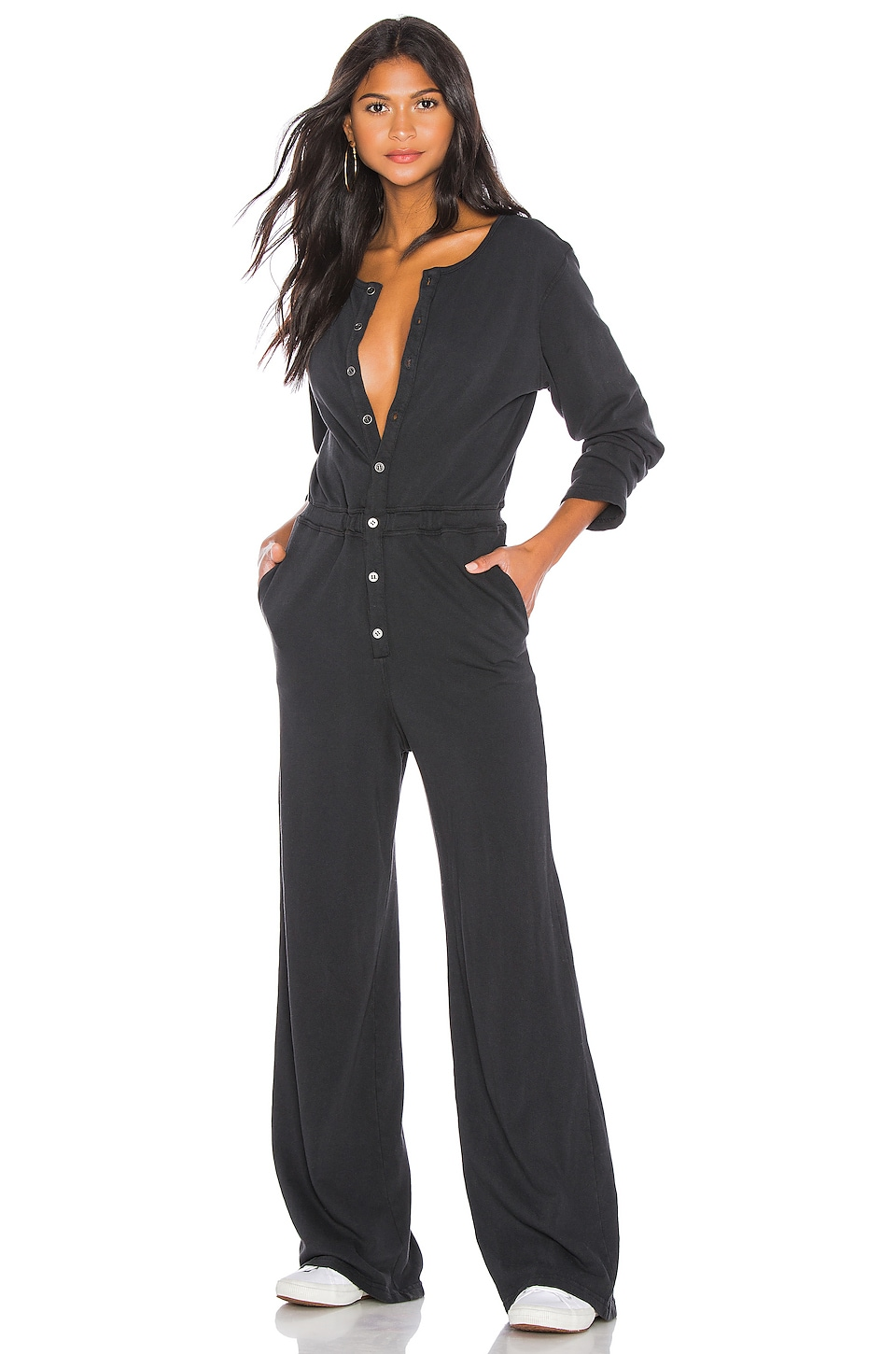 Spiritual Gangster Button Down Jumpsuit in Vintage Black