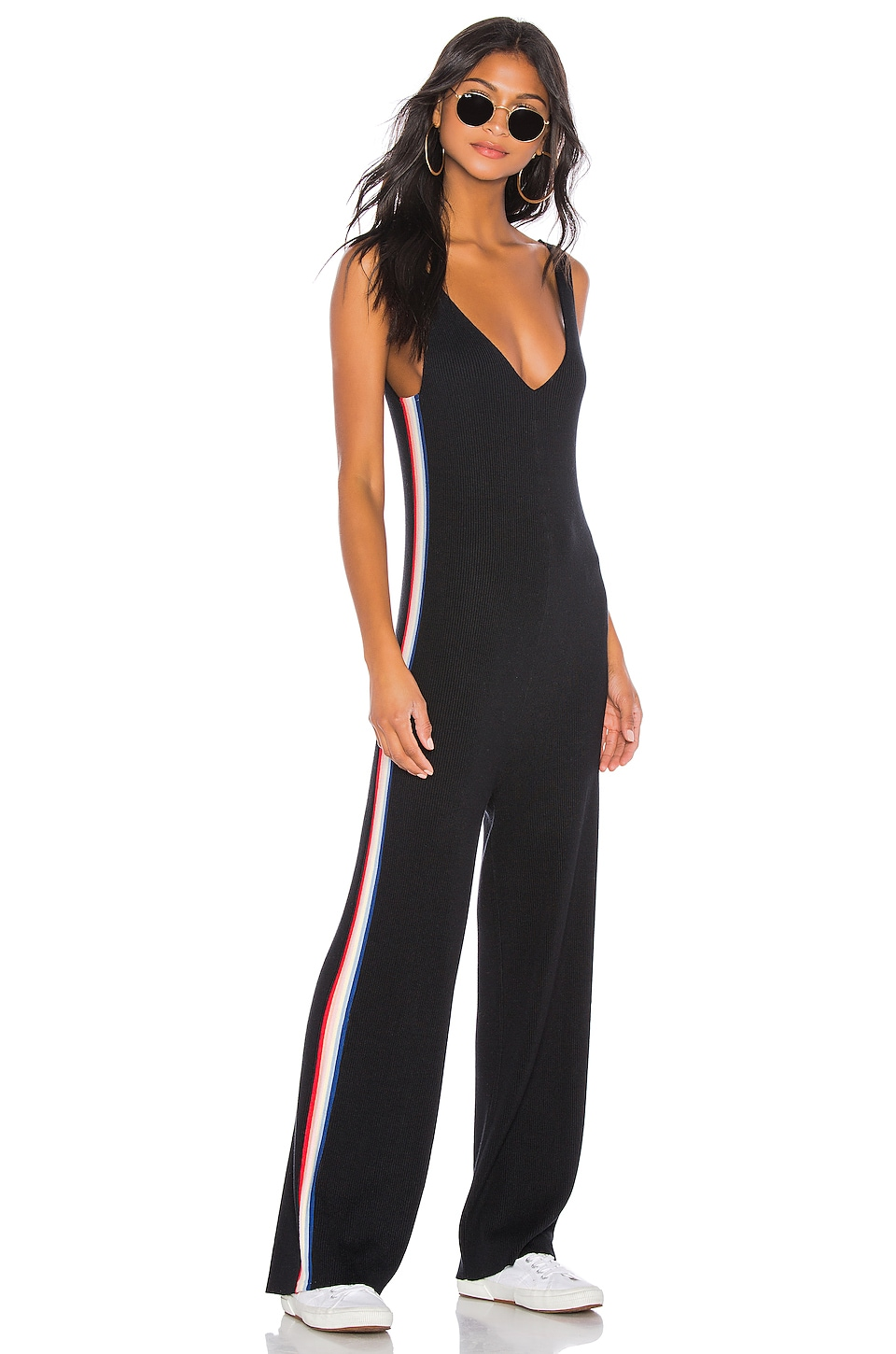 Spiritual Gangster Stripe Jumpsuit in Black