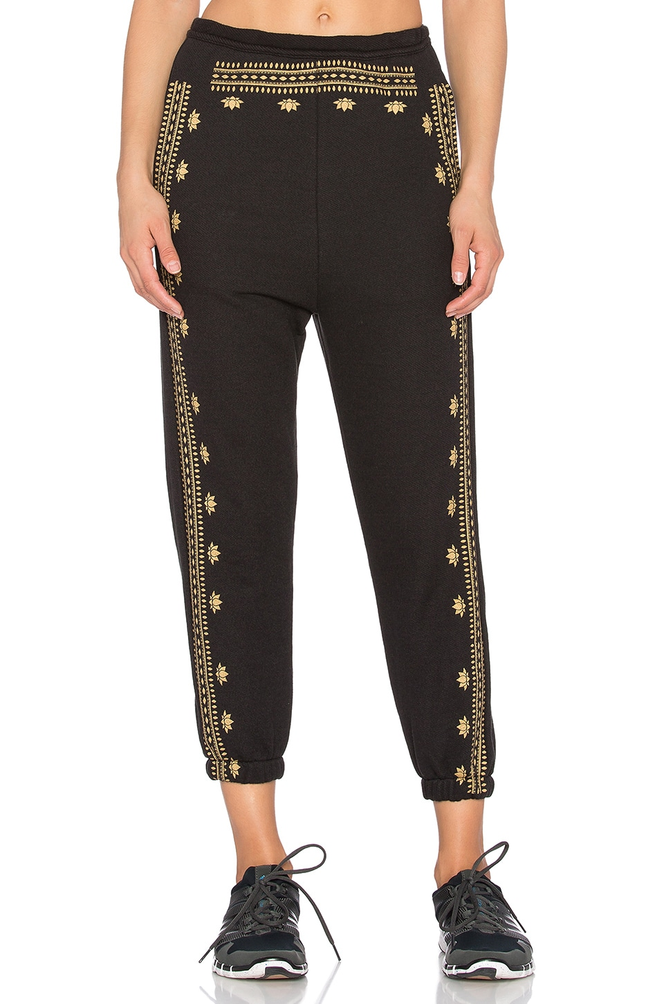 Spiritual Gangster Lotus Pattern Harem Sweatpant in Vintage Black