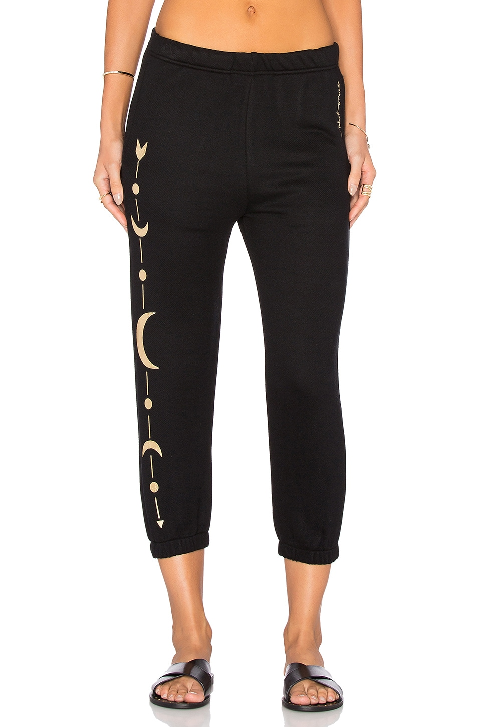 Spiritual Gangster Moon Arrow Harem Sweatpant in Vintage Black