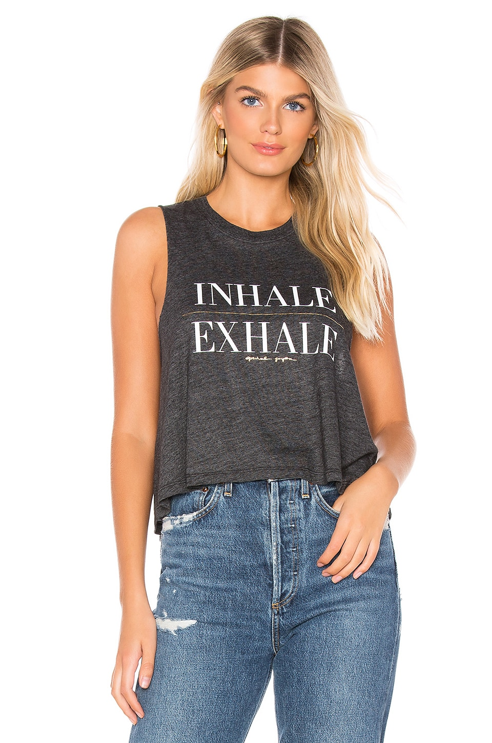 Spiritual Gangster Exhale Crop Tank in Vintage Black
