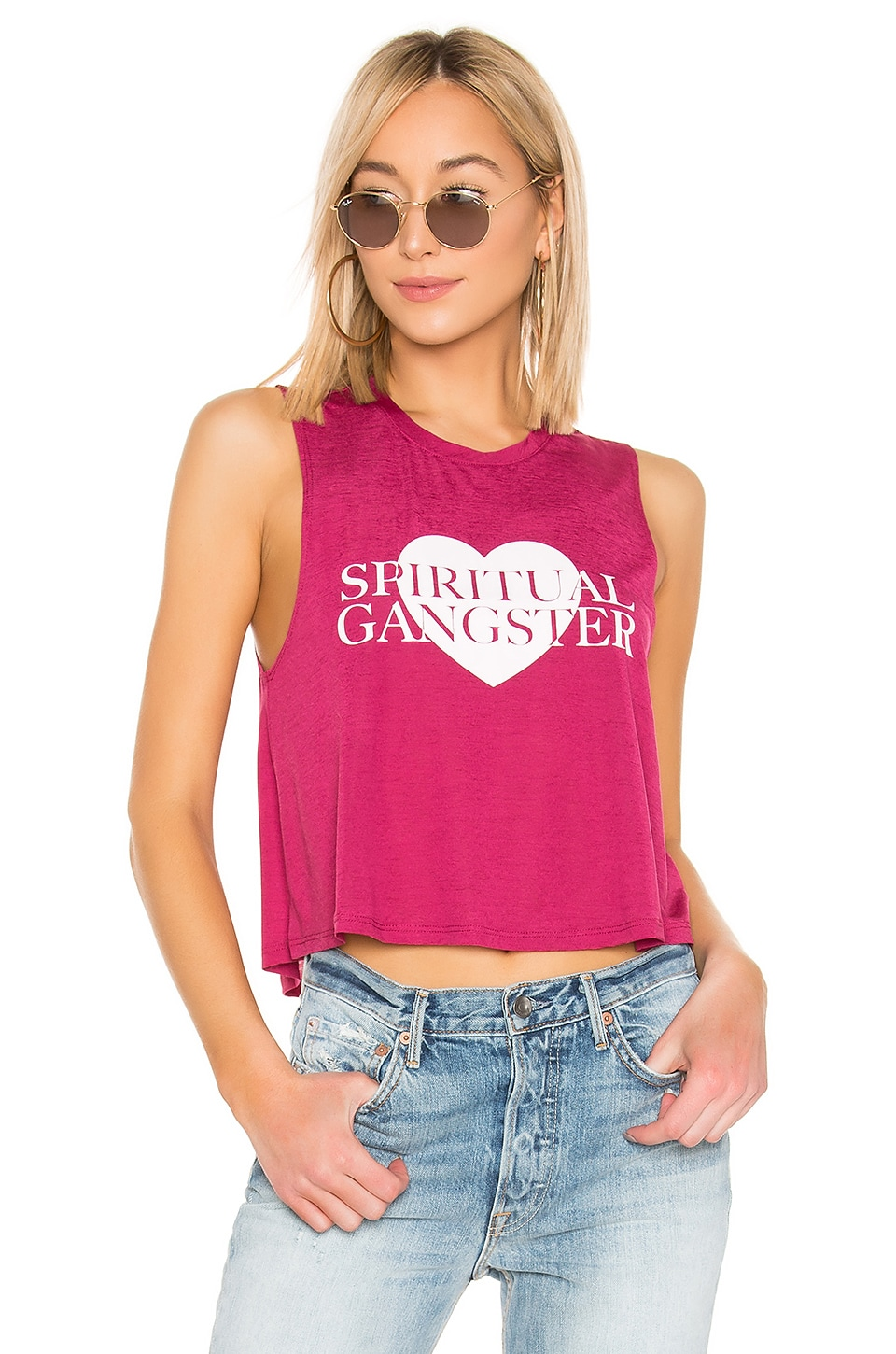 Spiritual Gangster Active Crop Tank in Garnet