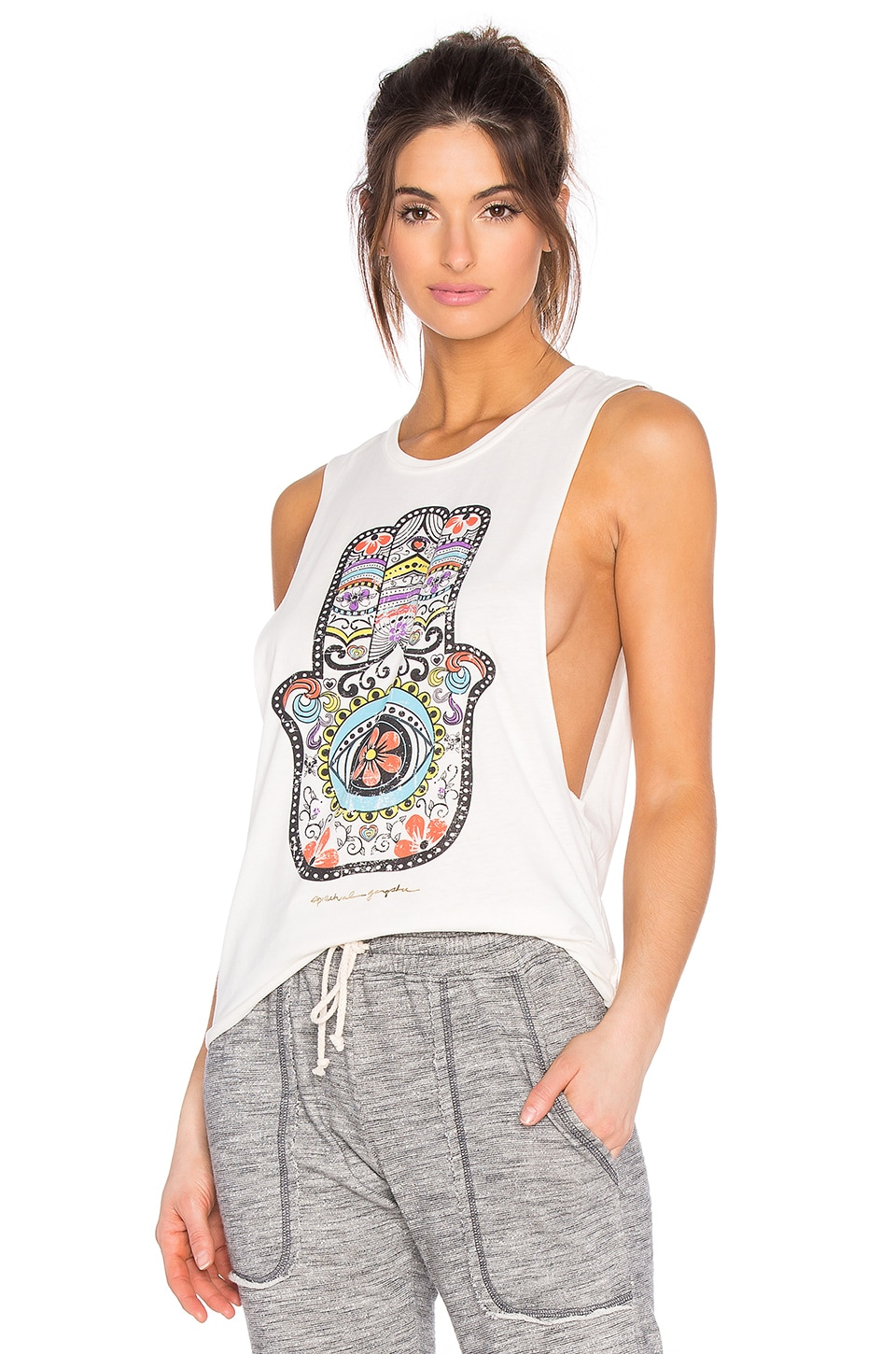 Spiritual Gangster Hamsa Day Of The Dead Burnout Festival Tank in Stardust
