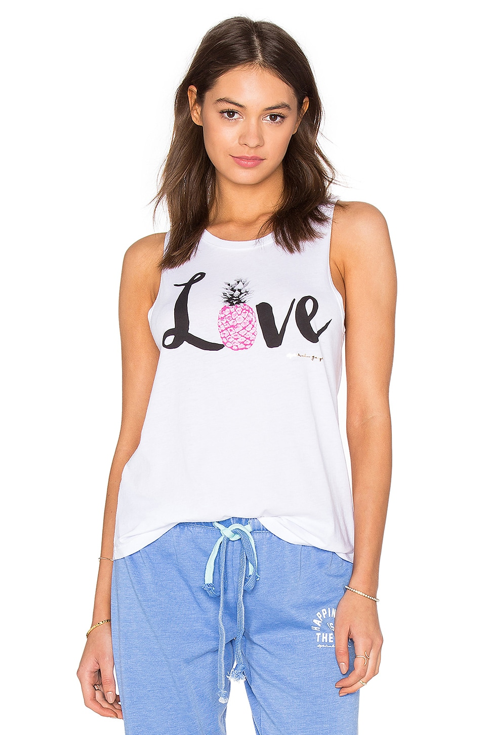 Spiritual Gangster Pineapple Love Muscle Tank in White