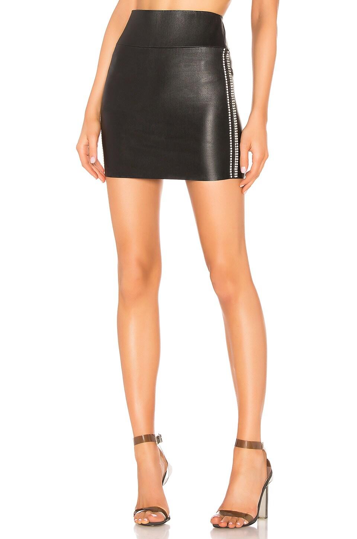 SPRWMN Leather Rhinestone Stripe Mini Skirt in Black