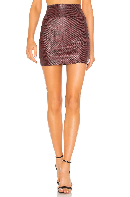 SPRWMN Leather Mini Skirt in Snake Bordeaux
