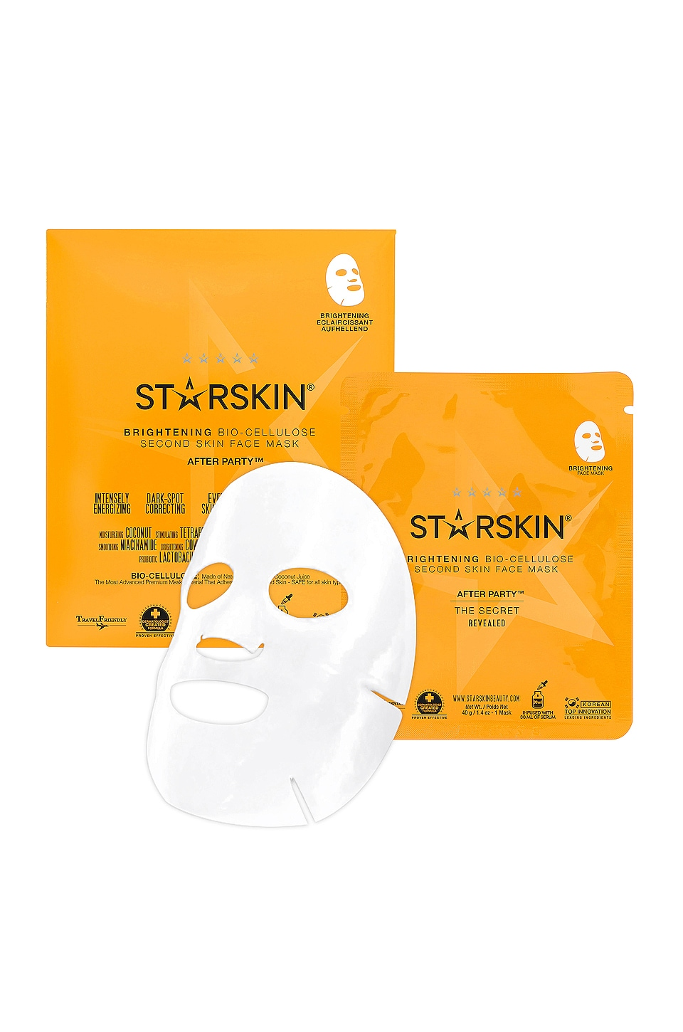 STARSKIN MASCARA FACIAL COCONUT BIO CELLULOSE SECOND SKIN AFTER PARTY FACE MASK