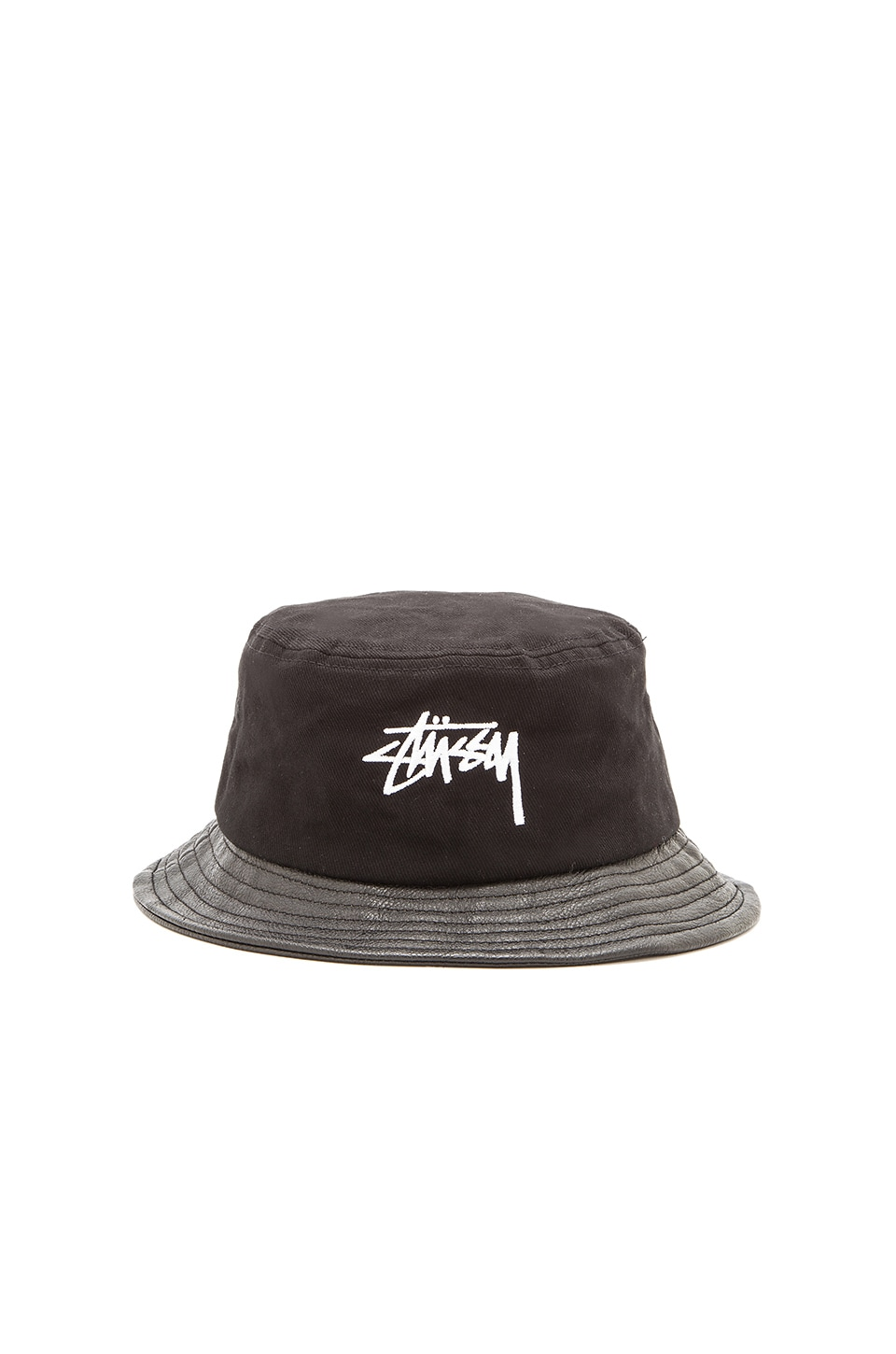 Stussy Stock Leather Brim Bucket Hat in Black  88fb32e712